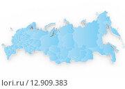 Купить «Новая карта России с Крымом, 3d-модель», иллюстрация № 12909383 (c) megastocker / Фотобанк Лори