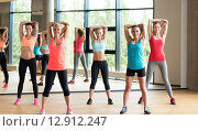 Купить «group of women working out in gym», фото № 12912247, снято 7 июня 2014 г. (c) Syda Productions / Фотобанк Лори