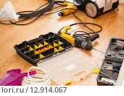 Купить «Tool box and set of screws», фото № 12914067, снято 1 сентября 2015 г. (c) Ярочкин Сергей / Фотобанк Лори