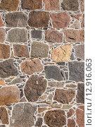 Купить «Стена из гранитных валунов», фото № 12916063, снято 27 сентября 2015 г. (c) Andrei Nekrassov / Фотобанк Лори
