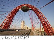 Купить «Живописный вантовый мост в Москве», фото № 12917947, снято 20 октября 2015 г. (c) Яременко Екатерина / Фотобанк Лори
