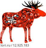 Красный орнаментальный силуэт лося. Стоковая иллюстрация, иллюстратор Буркина Светлана / Фотобанк Лори