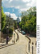 Купить «Rue De L'Abreuvoir, Монмартр, Париж», фото № 12933991, снято 24 мая 2015 г. (c) Валерия Потапова / Фотобанк Лори