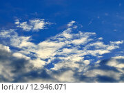 Купить «Небесный пейзаж с кучевыми облаками», фото № 12946071, снято 13 августа 2015 г. (c) Сергей Трофименко / Фотобанк Лори