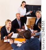 Купить «Business people during conference call», фото № 12948551, снято 18 февраля 2019 г. (c) Яков Филимонов / Фотобанк Лори