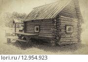 Деревянный дом, стилизация под старое фото. Стоковое фото, фотограф Игорь Яковлев / Фотобанк Лори