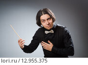 Купить «Funny conductor in musical concept», фото № 12955375, снято 1 августа 2015 г. (c) Elnur / Фотобанк Лори
