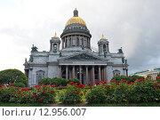 Исаакиевский собор на фоне красных роз летом в Санкт-Петербурге горизонтально (2015 год). Стоковое фото, фотограф Максим Мицун / Фотобанк Лори