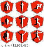 Набор красных спортивных эмблем. Стоковая иллюстрация, иллюстратор Буркина Светлана / Фотобанк Лори
