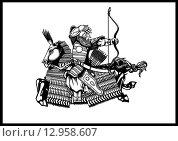 Монгол. Стоковая иллюстрация, иллюстратор Денис Цыренжапов / Фотобанк Лори