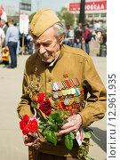 Купить «Ветеран Великой Отечественной войны. 9 мая 2015 года», эксклюзивное фото № 12961935, снято 9 мая 2015 г. (c) Михаил Ворожцов / Фотобанк Лори