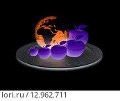 Купить «Глобус Земли и яблоки на подносе», иллюстрация № 12962711 (c) Guru3d / Фотобанк Лори