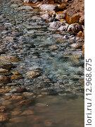 Горная река у подножия Гегского водопада. Абхазия. (2015 год). Стоковое фото, фотограф Ольга Коретникова / Фотобанк Лори