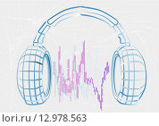 Купить «headphones and wave», иллюстрация № 12978563 (c) PantherMedia / Фотобанк Лори