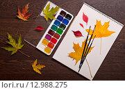 Купить «Осенние листья и акварельные краски», фото № 12988275, снято 18 октября 2014 г. (c) Наталья Двухимённая / Фотобанк Лори