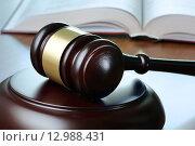 Купить «Судейский молоток и уголовный кодекс лежат на столе», фото № 12988431, снято 16 октября 2015 г. (c) Денис Ларкин / Фотобанк Лори