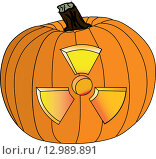 Радиоактивная тыква. Стоковая иллюстрация, иллюстратор Фёдор Мешков / Фотобанк Лори