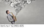 Купить «Handsome saxophonist. Concept image», фото № 12993435, снято 24 января 2019 г. (c) Sergey Nivens / Фотобанк Лори
