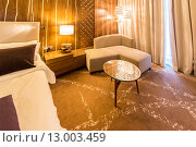 Купить «Room interior with modern furniture», фото № 13003459, снято 8 февраля 2015 г. (c) Elnur / Фотобанк Лори