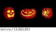 Три тыквы на Хэллоуин. Стоковое фото, фотограф Фрибус Екатерина / Фотобанк Лори
