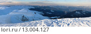 Купить «Twilight mountain winter panorama», фото № 13004127, снято 18 октября 2018 г. (c) Юрий Брыкайло / Фотобанк Лори