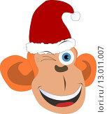 Веселая обезьянка в рождественском колпаке. Стоковая иллюстрация, иллюстратор Фёдор Мешков / Фотобанк Лори