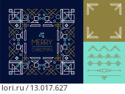 Купить «Merry christmas mono line set ornament frame deco», иллюстрация № 13017627 (c) PantherMedia / Фотобанк Лори