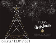 Купить «Merry christmas happy new year deco tree outline», иллюстрация № 13017631 (c) PantherMedia / Фотобанк Лори