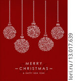 Купить «Merry christmas happy new year outline bauble deco», иллюстрация № 13017639 (c) PantherMedia / Фотобанк Лори