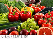 Купить «Composition with a variety of organic vegetables and fruits», фото № 13018151, снято 26 мая 2018 г. (c) PantherMedia / Фотобанк Лори
