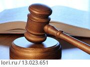 Купить «Судейский молоток и уголовный кодекс лежат на столе», фото № 13023651, снято 30 октября 2015 г. (c) Денис Ларкин / Фотобанк Лори