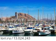 Купить «Port and Castle of Santa Barbara in background. Alicante», фото № 13024243, снято 14 апреля 2014 г. (c) Яков Филимонов / Фотобанк Лори