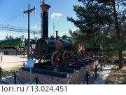 Макет первого паровоза Черепановых, Новосибирский музей железнодорожной техники (2011 год). Редакционное фото, фотограф Василий Бронников / Фотобанк Лори