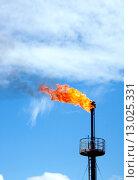 Купить «Газовый факел на фоне неба», фото № 13025331, снято 12 июня 2010 г. (c) Георгий Shpade / Фотобанк Лори