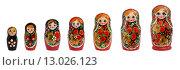 Купить «Набор русских матрешек на белом фоне изолировано», фото № 13026123, снято 7 ноября 2015 г. (c) Наталья Волкова / Фотобанк Лори