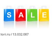 Купить «many colorful shopping bags with sale word», фото № 13032087, снято 27 сентября 2013 г. (c) Syda Productions / Фотобанк Лори