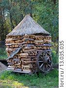 Поленница дров накрытая камышом. Стоковое фото, фотограф Кохан Пётр / Фотобанк Лори