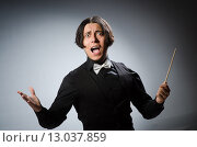 Купить «Funny conductor in musical concept», фото № 13037859, снято 1 августа 2015 г. (c) Elnur / Фотобанк Лори