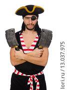 Купить «Man pirate isolated on the white background», фото № 13037975, снято 10 апреля 2015 г. (c) Elnur / Фотобанк Лори