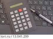 Купить «Калькулятор и шариковая ручка», фото № 13041299, снято 23 октября 2015 г. (c) Сергеев Валерий / Фотобанк Лори