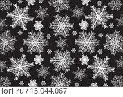 Белые снежинки на черном фоне. Стоковая иллюстрация, иллюстратор Фёдор Мешков / Фотобанк Лори