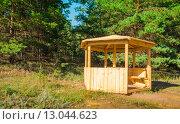 Купить «Новая деревянная беседка в лесу», фото № 13044623, снято 3 августа 2015 г. (c) Сергей Лысенко / Фотобанк Лори