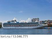 Купить «Круизный корабль Diamond Princess в порту Владивостока в солнечный день, Россия», фото № 13046771, снято 2 сентября 2015 г. (c) Владимир Серебрянский / Фотобанк Лори