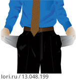 Мужчина с пустыми вывернутыми карманами. Стоковая иллюстрация, иллюстратор Фёдор Мешков / Фотобанк Лори