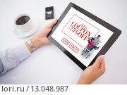 Купить «Composite image of man using tablet pc», фото № 13048987, снято 29 мая 2020 г. (c) Wavebreak Media / Фотобанк Лори
