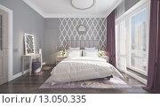 Купить «Светлая спальня. Интерьер», фото № 13050335, снято 12 июля 2020 г. (c) Сергей Дрозд / Фотобанк Лори