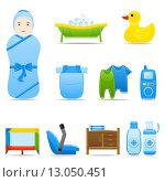 Купить «Иконки на тему ухода за новорожденным», иллюстрация № 13050451 (c) Ирина Иглина / Фотобанк Лори