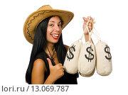 Young woman with gun and money sacks. Стоковое фото, фотограф Elnur / Фотобанк Лори