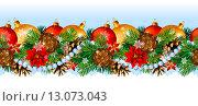 Купить «Рождественский (новогодний) бесшовный бордюр с шишками, еловыми ветками, шарами, бусами, пуансеттией и снежинками», эксклюзивная иллюстрация № 13073043 (c) Александр Павлов / Фотобанк Лори