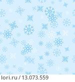 Купить «Бесшовный голубой фон со снежинками», иллюстрация № 13073559 (c) Ирина Иглина / Фотобанк Лори